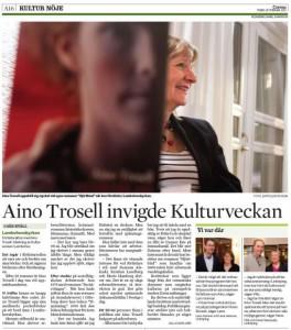 Aino Trosell invigde kulturveckan i Lambohov